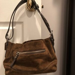 Chocolate brown suede Coach bag